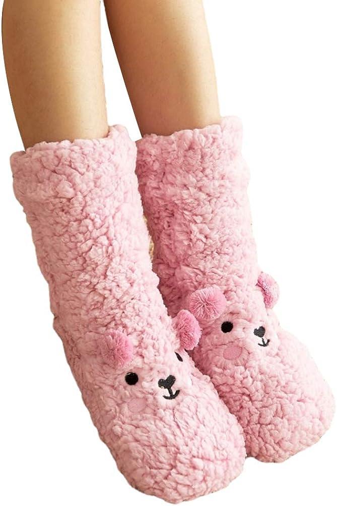 SAPJON Slipper Socks Gifts Women's half Cozy Fuzzy Fleece-Lined Girls