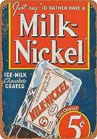 ブリキ看板1937ミルクニッケルアイスミルクバーコレクタブルウォールアート