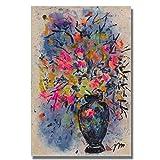Bytfaa Flor Abstracta Moderna en un jarrón Pintura de orquídeas Carteles e Impresiones Cuadro artístico de Pared para la decoración del hogar de la Sala de Estar 50x70cm