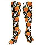Calcetines de compresión con patrón de calabaza para otoño de Halloween (15-20 MmHg) para niñas de viaje de vuelo medias largas