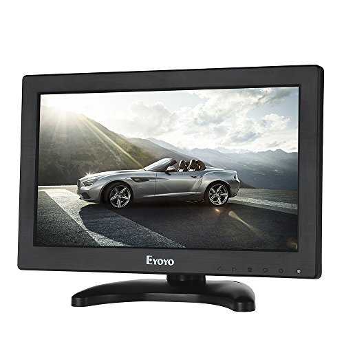 Eyoyo 12' Inch TFT LCD Monitor with AV HDMI BNC VGA Input 1366x768 Portable Mini HD Color Screen Display with Built-in Speaker