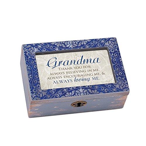 Cottage Garden Grandma Thank You for Loving Me Denim Decoupage Petite Music Box Plays Edelweiss
