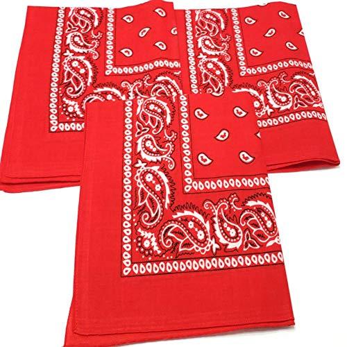 M.H.I. 3 Pack Dog Bandana Neck Scarf Paisley 100% Cotton Double Sided Bandanas - Any Pets (Red)