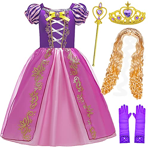BELOAN Princess Costume Baby Girls Birthday Party Layered Dress Up with Crown Wand Wig Gloves Full Accessories Age3-4 Years Purple