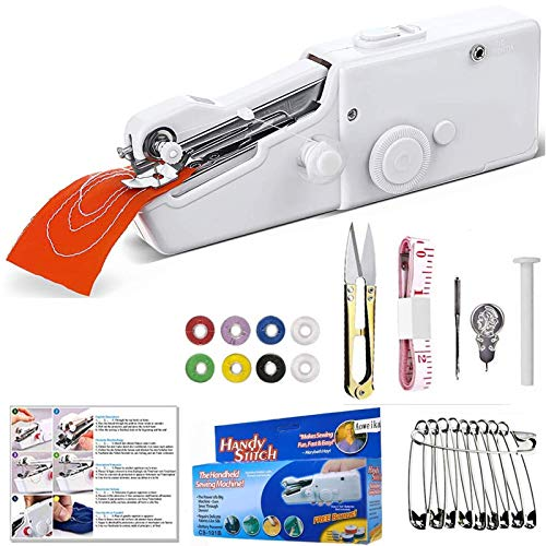 Aoweika Mini Nähmaschine, Handheld Elektrisch Handnähmaschine Portable Hand Sewing Machine Schnellreparatur Stoff Leder Denim Leinwand für Kinder Anfänger DIY 25 Pcs