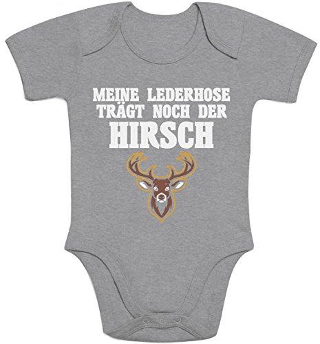 Shirtgeil Meine Lederhose Trägt Noch Der Hirsch Baby Body Kurzarm-Body 3-6 Monate Grau