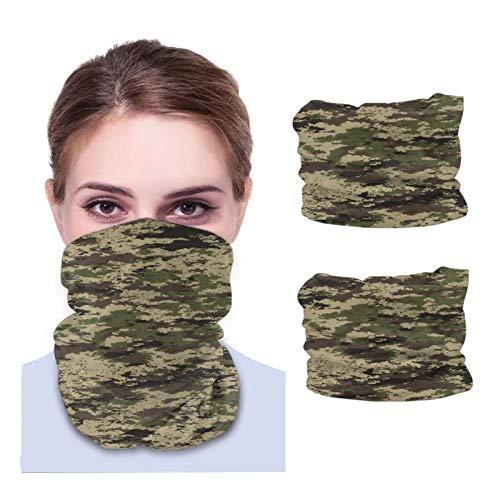 ZVEZVI Caza militar Camuflaje Camo Unisex Cuello polaina Tela lavable Pasamontañas reutilizables Protección UV Cubierta facial para viajar Caminar 2PCS