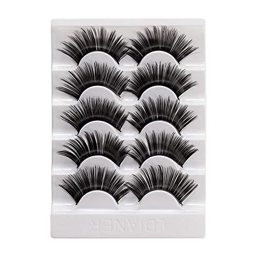 5 paires 3D Faux Mink cheveux longs faux cils naturels Wispies évasé Lashes main Cruauté sans entrecroisée eyelashe (style 01, Style 01)