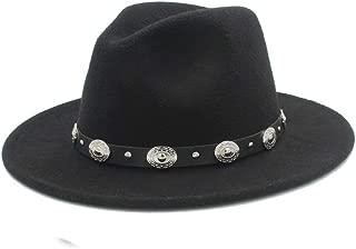 SHENTIANWEI Men Women Winter Fedora Hat with Punk Belt Panama Hat Pop Wide Brim Church Fascinator Hat Wild Hat Size 56-58CM