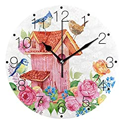BECCI Birdhouse Birds Flowers, Wall Clock Battery Operated Non-Ticking Round Clock Modern Home Decor Wall Clock Sweep Movement Wall Clock Decorative for Kitchen, Living Room, Bedroom, Bathroom, Office