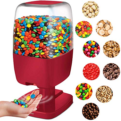 SHARPER IMAGE Motion Activated Candy Dispenser For Gumballs, Nuts, Snacks, Touchless Battery Operated Sensor Detector for Hands-Free Easy Fill Treats for Kids, Adults, Home/Office (Red, NEW VERSION)