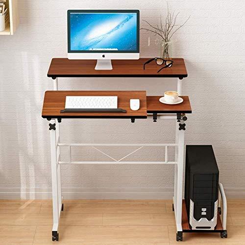 Mesa de ordenador de madera ajustable para mesa de trabajo, mesa de ordenador portátil, para mesita de noche, oficina, sala de estar, escritorio con rueda CHFYG (color: B, tamaño: 80 x 34 cm)