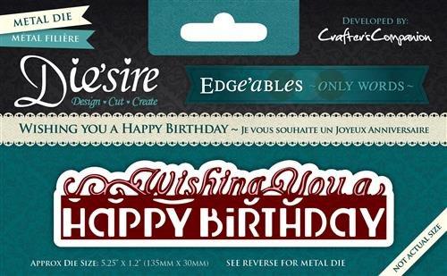 """Crafter's Companion - Diesire Metallschablone aus der Reihe Edge'Ables - Only Words mit Schriftzug """"Wishing You A Happy Birthday"""", Grün"""