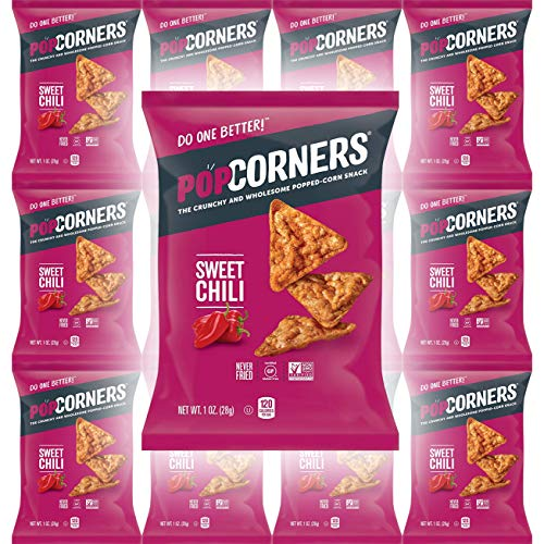 Popcorners Sweet Chili Snack, Never Fried, NON-GMO, Gluten-Free, 1oz Bag (Pack of 12, Total of 12 Oz)