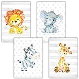 Frechdax® 4er Set Kinderzimmer Babyzimmer Poster Bilder