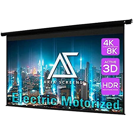 Akia Screens 125 inch Motorized Electric Remote Controlled Drop Down Projector Screen 16:9 8K 4K HD 3D Retractable Ceiling Wall Mount Black Projection Screen Office Home Theater Movie AK-MOTORIZE125H