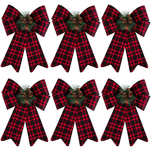 URATOT 6 Pack Christmas Wreaths Bows with Pinecones Needles Xmas Decorations Bows Natural Christmas Tree Bows for Holiday Decoration or DIY Crafts, 9 x 12 Inches