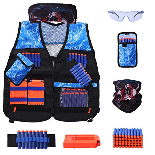 FUNNHAOO Kids Tactical Vest Kit for Nerf Guns N-Strike Elite Series nerf Vest with Refill Darts Dart Pouch Reload Clip Tactical Mask Wrist Band and Protective Glassesfor Boys Girls