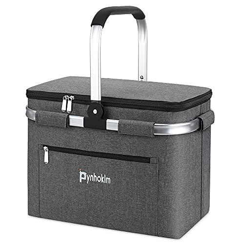 Picnic Basket, borsa termica per la spesa, borsa alla moda, borsa per la spesa, borsa Cooler Bag, borsa frigo per il trasporto, Breakfast, Lunch (30Litri, grigio)