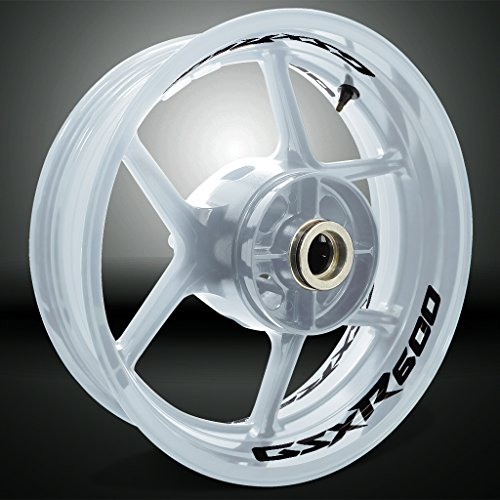 Stickman Vinyls Negro Brillante Motocicleta Moto Llanta Inner Rim Tape Decal Compatible con Suzuki GSXR 600