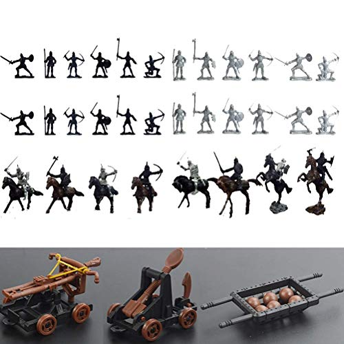 Odowalker 42 Pieces Knight & Horses Soldier Toys Middle Ages Army Infantry Archer Warriors Sword and Shield Swordman Archaic