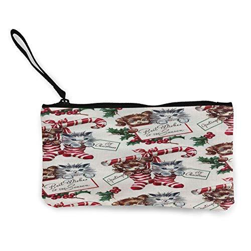 Moneda de lona, bolso de Navidad vintage con cremallera, bolsa de cosméticos de viaje multifunción para teléfono móvil, bolsa de lápiz con asa