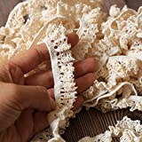 ToBeIT Cotton Elastic Lace Trim DIY Craft Delicate Ribbon Scallop Edge for Scrapbooking Gift Package Wrapping,Crocheted Lace Trim DIY Craft Ribbon (Beige Elastic lace )