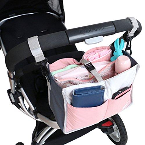 FakeFace Multi-funtional Nylon Zipper Travel Handbag Pouch/Baby Stroller Pram Pushchair Hanging Storage/Bag in Bag/Insert Organizer/Cosmetic Toiletry Bag Pocket/Makeup Bag/Tidy Bag Pink