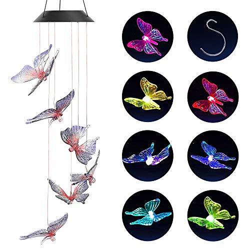 PUDSIRN Solar Schmetterling Windspiele, Wasserdichte farbwechselnde LED-Mobile Windspiel für Home Party Outdoor Yard Terrasse Hinterhöfe Garten Dekoration