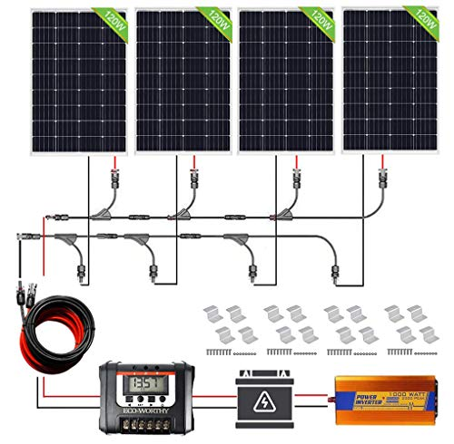ECO-WORTHY 480W Off Grid Solarmodul Kit: 1000W 220V Wechselrichter + 4 PCS 120W Solarpanel + 30A Batterieladeregler für Home Boot RV