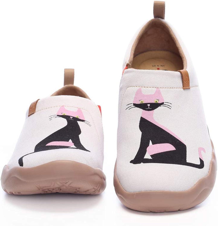 UIN Women's Luna Painted Canvas Slip-On shoes Fashion Women's Travel shoes Casual Lofers shoes White