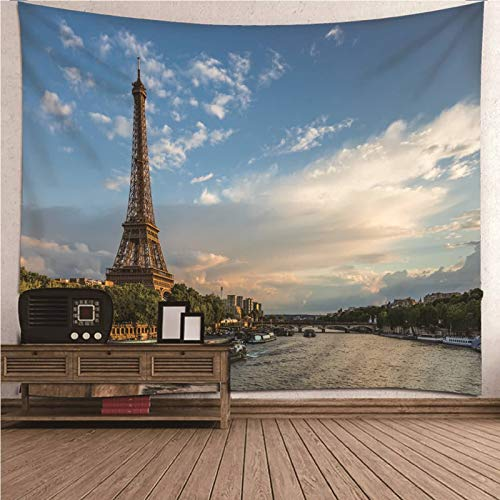 Malinmay Small Wall Hanging Tapestry,Eiffel Tower Tapestry Wall Hanging Polyester Wall Decorations For Bedroom,Table Cloth,Living Room 240X220Cm