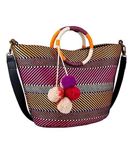 SIX Damen Handtasche, Strandtasche mit geflochtenen Mustern in pink, orange, beige; Runde Henkel und kleine Bommel als Verzierung (726-777)