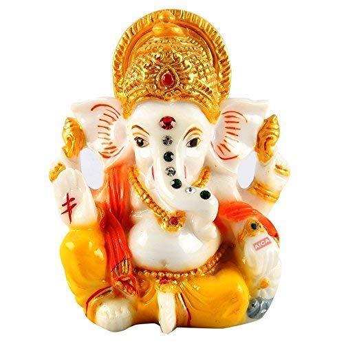 Aica Fiber Lord Ganesh Ganpati Idol, Fiber, Yellow, Small, 1 Piece