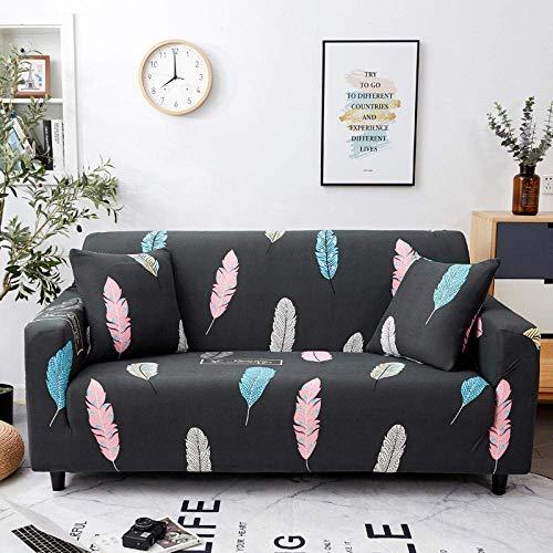 WLVG Funda elástica para sofá de 3 plazas, 190 – 230 cm, de plumas, color negro, suave, elástica, para salón, sofá, cama, sillón, sillón, perros, mascotas