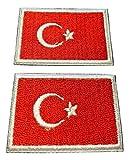 b2see Iron on Bügel Aufnäher Fahne Patches Flicken Aufbügler Bügelbild Applikation Sticker-Ei Flagge Bosporus Türkei Set 2 STK jeweils 4,8 x 3 cm
