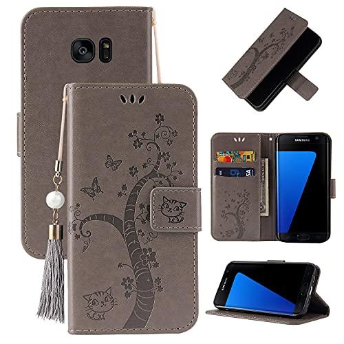 Funda protectora Flip Funda para Samsung Galaxy S7 Edge, cubierta de la billetera de cuero PU [Función de soporte] con el bolsillo de la ranura ID y las tarjetas de crédito, Cierre magnético TPU TPU a