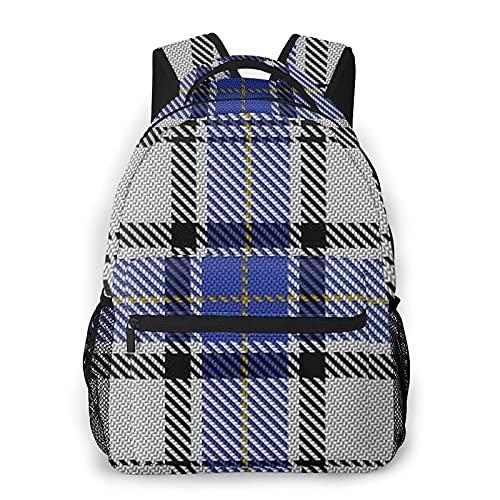 Mochila para adolescentes, hombres, mujeres, paquete de almacenamiento,Tela escocesa escocesa escocesa azul del, Mochila para portátil de viaje para estudiantes de escuela informal de negocios