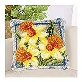 Latch Hook Rug Kit de Costura Crochet Cojín Bordado DIY Tapiz Alfombras Tapetes Decisiones for la decoración del hogar Flores Amarillas (Color : White Mesh with Pillow Core, Size : 43 * 43cm)