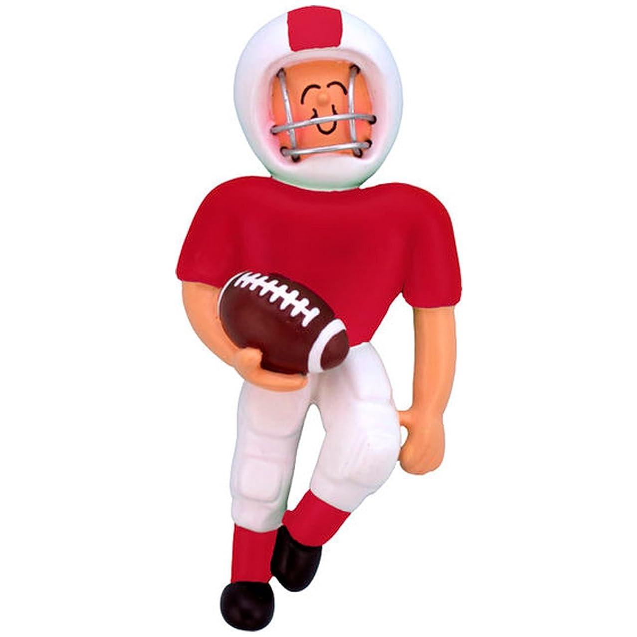 Personalized Playing Football Boy Christmas Tree Ornament 2019 - Team Man Athlete Helmet Running Score Profession Hobby Goal Star School Coach Grand-Son - Free Customization (Red Uniform)