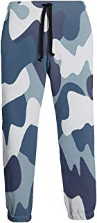 NTQFY Camouflage Blue and White Men's Sweatpants Comfy Jogger Pants with Pockets Lightweight Athletic Pant