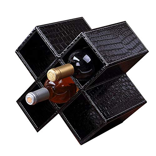 Botellero de Madera 5 Botellas DIY para encimera Sala de Estar Estante de Almacenamiento de gabinete de Vino de Madera Grande (Color: Negro)