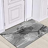 HLXX Alfombra de Puerta de Entrada con patrón de Hojas Tropicales, Alfombrillas de Suelo para Interiores, Alfombra Lavable Antideslizante para decoración de Felpudo de baño A5 50x80cm
