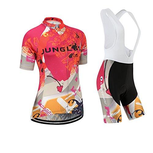 junglest (Cojín 3D)(Traje(Strap Blancas) tamaño:XXL) Moda Chaleco Transpirable para los Corta Jerseys Ciclismo Rompevientos sudo Mujer Rendimiento Ropa Manga Maillot de