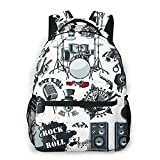 Mochila Multi leisure backpack,Set Of Symbols Related To Rock And Roll, travel sports School bag for adult youth College Students