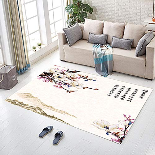 DLSM Elegant art classical Chinese style early spring winter plum printed carpet bathroom corridor entrance coffee table sofa bedroom living room decorative carpet-120x160cm