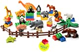 Kids Toys, 24 PC Set My First Farm and Wild Animals Set (20 Piece Set with 4 Fences Included) Compatible with All Major Building Blocks Brand