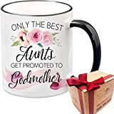 SUUURA-OO Only The Best Aunts Get Promoted To Godmother Novelty Coffee Mug Gift for God Mom Godparent Godmother, Sister, Pregnancy Announcement, Christmas, Thanksgiving, Milk Juice Tea Cup