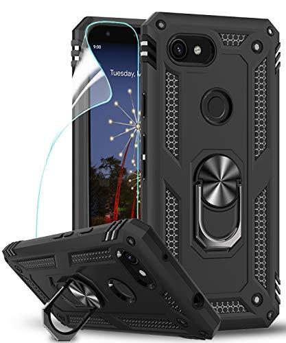 LeYi Hülle Google Pixel 3a Handyhülle mit HD Folie Schutzfolie,360 Grad Drehbar Ringhalter Cover TPU Bumper Stoßdämpfung Schutzhülle für Hülle Google Pixel 3a Handy Hüllen Schwarz