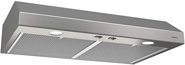 Broan-NuTone BCSD124SS Glacier Range Hood with Light, Exhaust Fan for Under Cabinet, Stainless Steel, 1.5 Sones, 250 CFM, 24